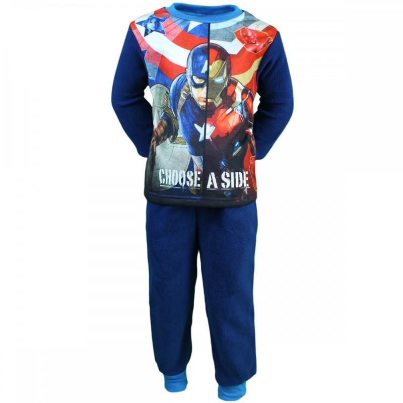 12x Pyjamas polaires Captain America du 2 au 8 ans - Pyjama