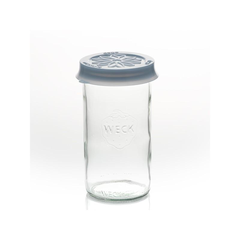 Cap out of silicone Blossom eCAP Storage - diameter 60 mm, blue for jars WECK