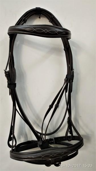 BONFIRE COMFORT BRIDLE  - Bonfire Comfort Bridle with raised Noseband and show white stich