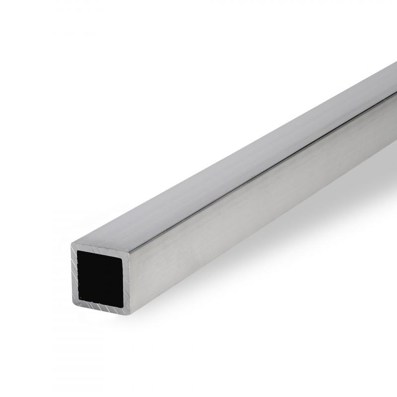 Aluminium square tube, round edged, EN AW-6060, Mill-finish - T66, pressed, solution annealed, artificially aged, EN 755
