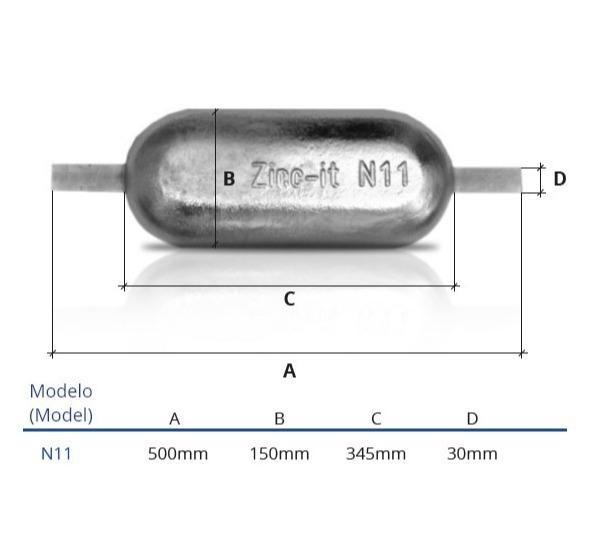 Ânodo de zinco para protecção catódica - Ânodos de casco N11