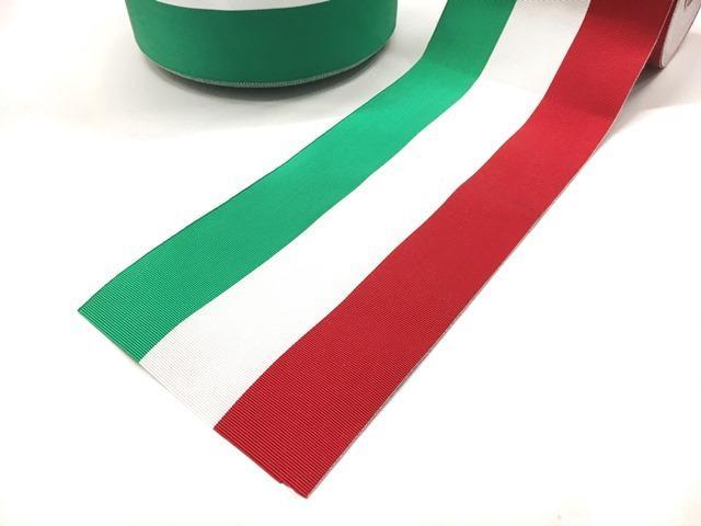 Nastro tricolore gros grain canettato, cm 12 - Nastro tricolore gros grain canettato, cm 12