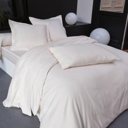 Linge de lit : draps, taies, alèses - Linge de Lit blanc Satin fines rayures