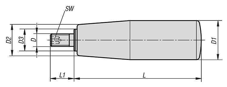 Poignée cylindrique tournante avec six pans creux - Volants, manivelles et poignées