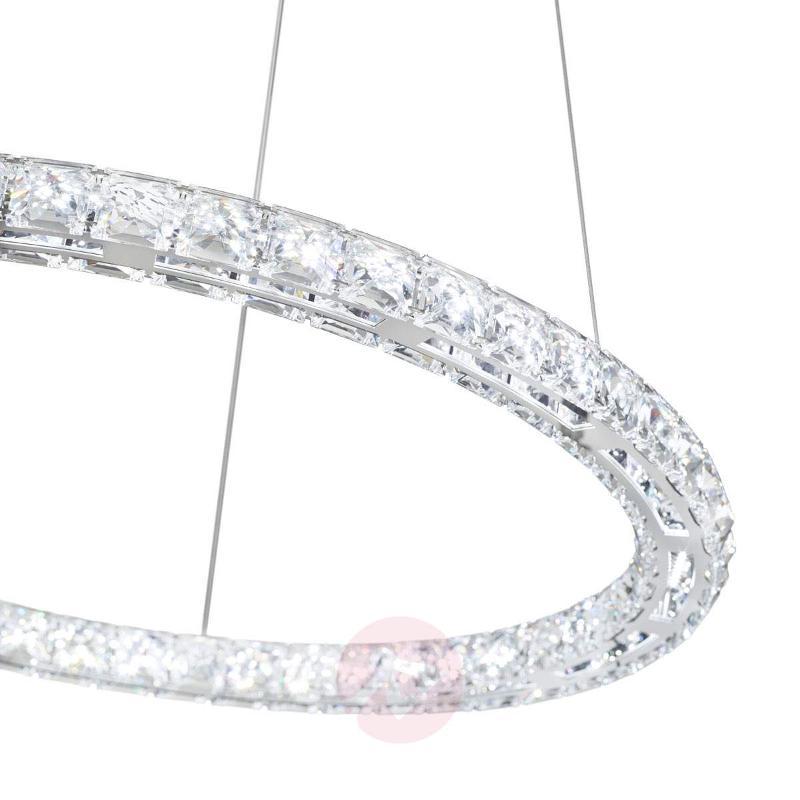 Circle LED hanging light w/ Swarovski crystals - Pendant Lighting