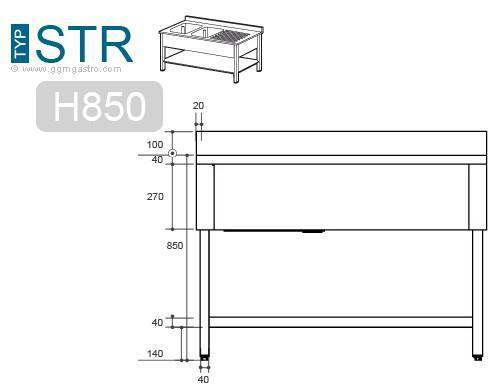 Sink - Sink unit with floor base 0,8 m - 1 sink in center L 50 x B