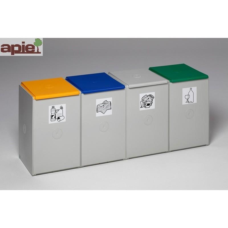 Collecteur quadruple tri sélectif 4x60 L, avec 4 couvercles - Référence : 3813/C