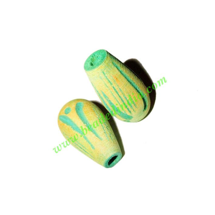 Wooden Carved Beads, size 12x22mm, weight approx 1.26 grams - Wooden Carved Beads, size 12x22mm, weight approx 1.26 grams