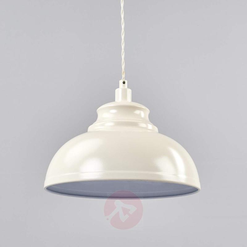 Cream-coloured Isla metal hanging light - Pendant Lighting