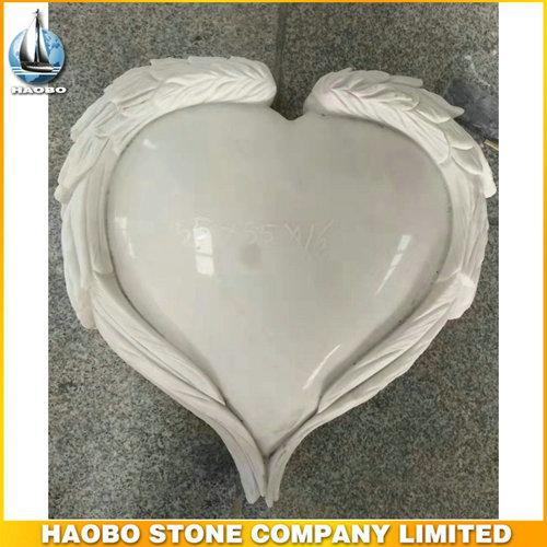 Carved Wing Heart Shape Headstone With White Marble - Discover this Carved Wing Heart Shape Headstone made in white marble by Habo.