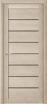 T-1 - Panel MDF door | Finish: EcoTex (creamy acacia) | Glazing: black
