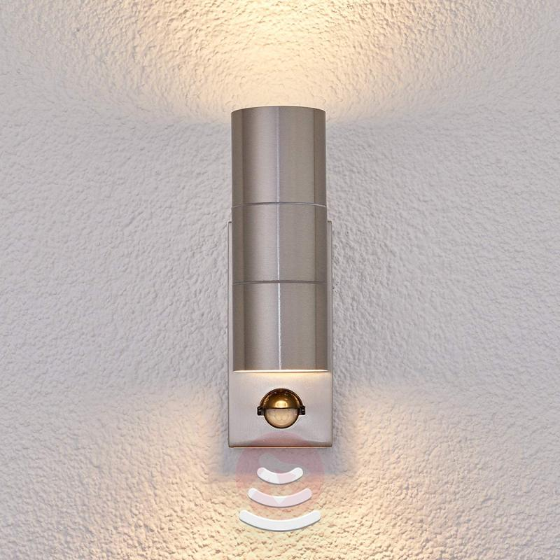 Outdoor wall light Eyrin with motion detector - stainless-steel-outdoor-wall-lights