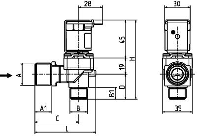 Servo-controlled solenoid valve NC, DN 10 - 01.010.511