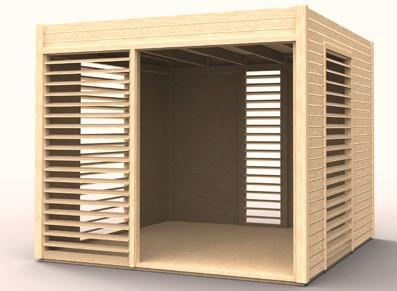 Abri de jardin en bois - Avec lamelles inclinées et plancher