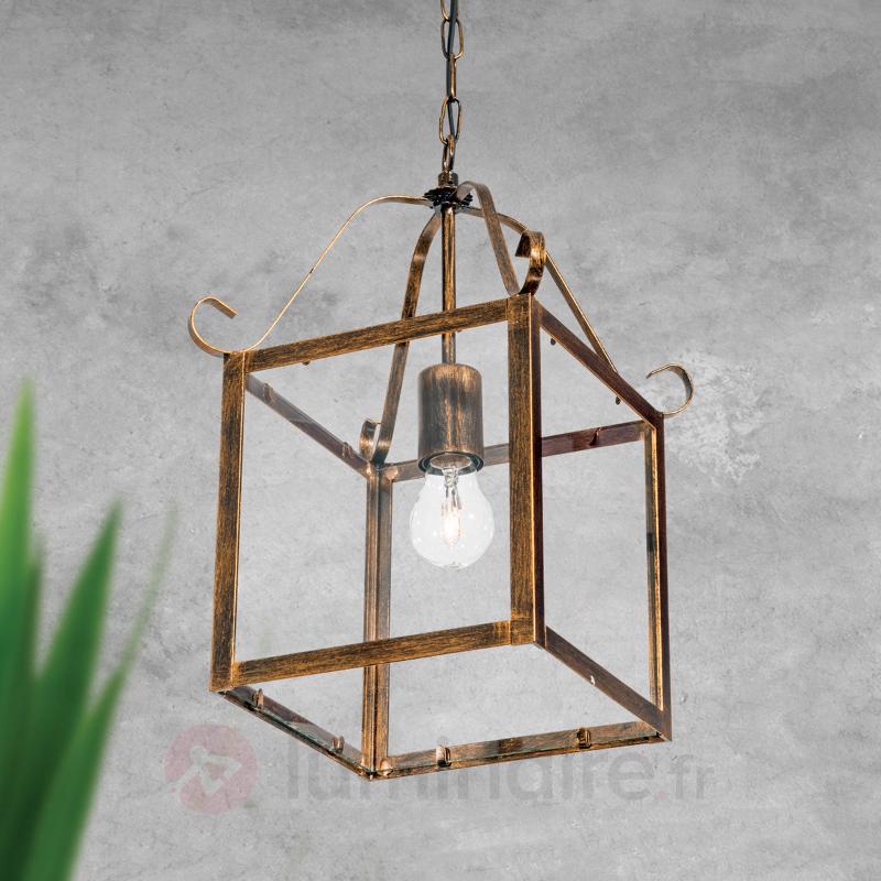 Magnifique suspension FALOTTA carrée, à 1 lampe - Suspensions rustiques