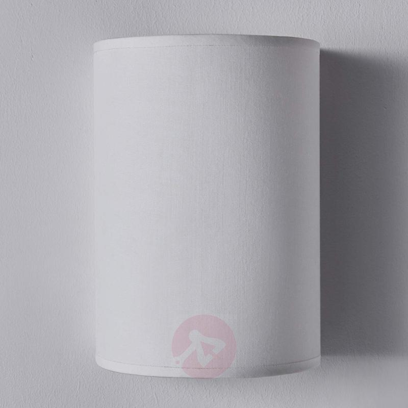 Semicylindrical fabric wall light Annalisa, white - indoor-lighting