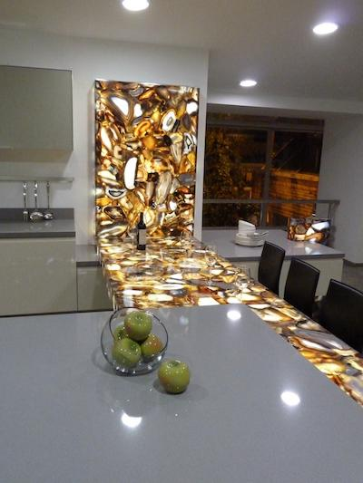 Light Passing Semi Precious Stone Brown Agate Panels - Natural Stone Panels
