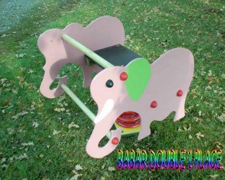 Jeu Sur Ressort L'éléphant Babar 1 Ou 2 Places - Aires De Jeux Enfants
