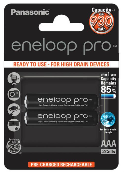 Batterie ministilo ricaricabili Eneloop Pro 2pz - BK-4HCDE/2BE | Blister da 2 pile AAA Panasonic
