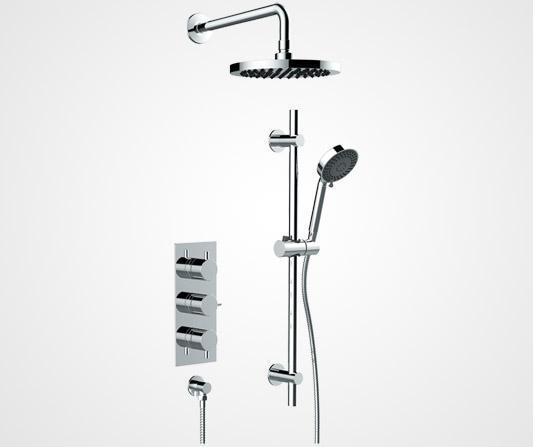Three handle inline shower valve - British Faucet