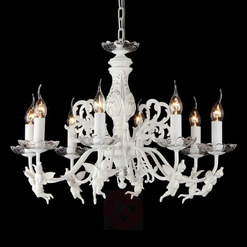 All in white - 8-bulb chandelier Angel - indoor-lighting