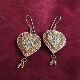 Boucles d'oreilles - Or 18ct, émail, perles, diamants, Inde