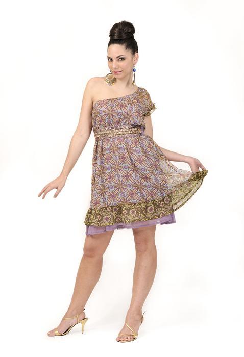 Chiffon Printed One Shoulder Dress | Purnima Exports - Manufacturer & Supplier | Low MOQs | OEM Supplier, India