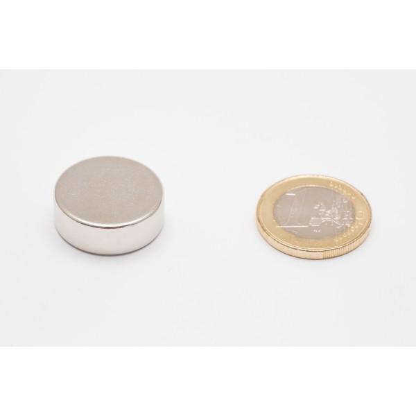 Neodymium disc magnet 22x8mm, N45, Ni-Cu-Ni, Nickel coated - Disc