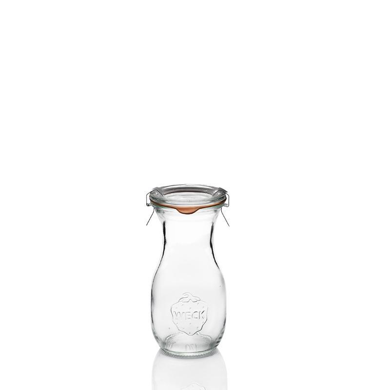 6 Bottiglie Weck in vetro modello FLACON® in 290 ml  - con coperchi di vetro e guarnizioni (graffe non comprese)