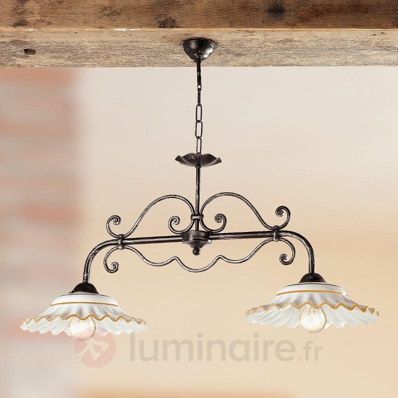 Suspension I BILIARDI à 2 lampes orange - Suspensions rustiques