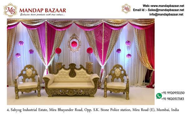 Custom Wedding Stage Backdrop - Wedding Stage Backdrop Brocade fabric