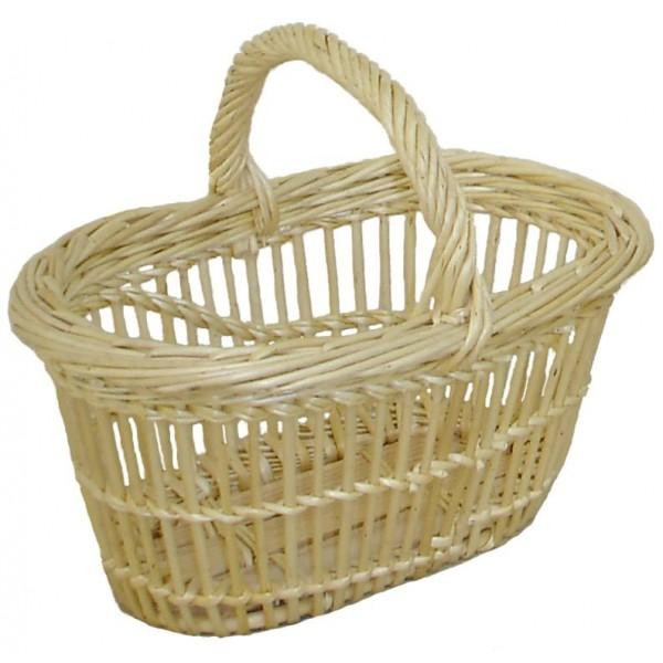 Panier clair fin ovale osier blanc ou 2 tons 5 tailles - null