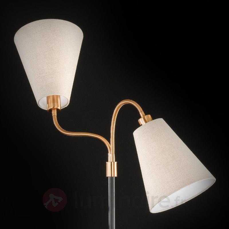 Lampadaire à deux lampes Hopper, noir-bronze - Lampadaires en tissu