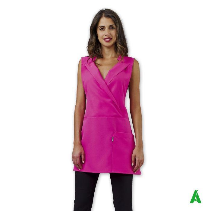 Scamiciato donna antimacchia per beauty center - Scamiciato scollo V con lacci in vita personalizzabile