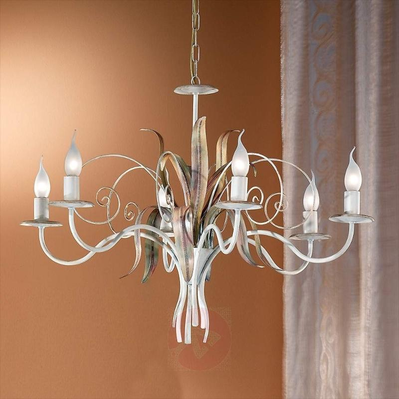 Flora Florentine Chandelier Six Bulbs Ivory - Chandeliers