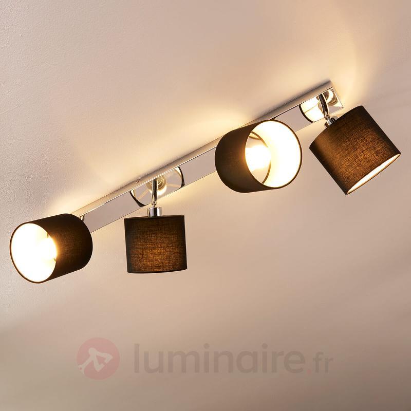 Plafonnier Mairi avec abat-jour noirs et LED - Plafonniers en tissu