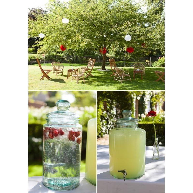 Damigiana cilindrica con rubinetto in vetro 100% riciclato - 12 litri, coperchio in vetro.