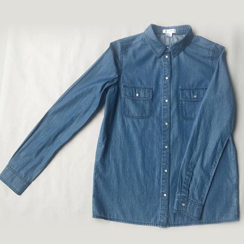 Women's denim shirt Stonewashed blue denim shirt -