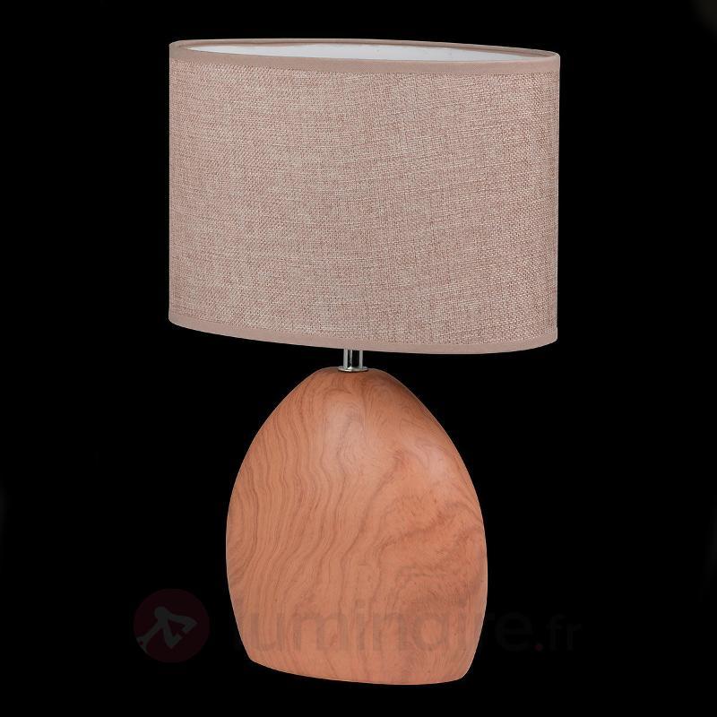 Lampe à poser classique Hill aspect bois - Lampes à poser en tissu