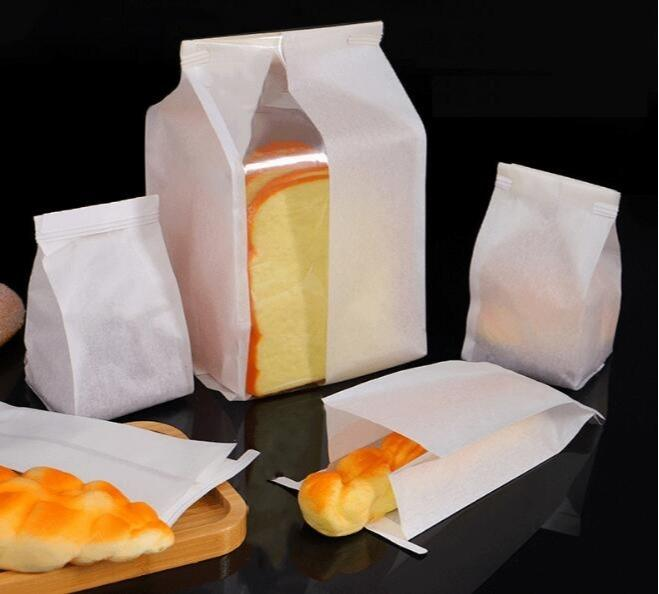 Food packaging bag - Disposable oil proof bunch pocket paper bag for bread,cake,sandwich
