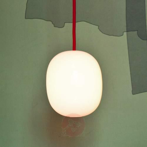 Super Egg - pendant light with red power cable - Pendant Lighting