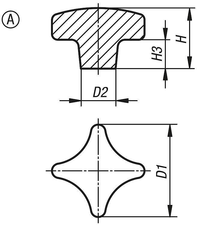 Flexibles Normteilesystem - Kreuzgriffe ähnlich DIN 6335 aus Aluminium