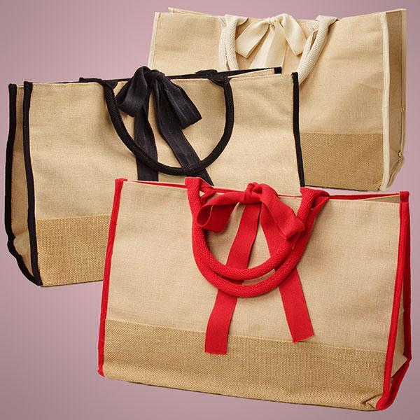 Natural Jute Handbags - Natural Jute Handbags, Jute Gift Bag, Jute Ribbon Tote Bag