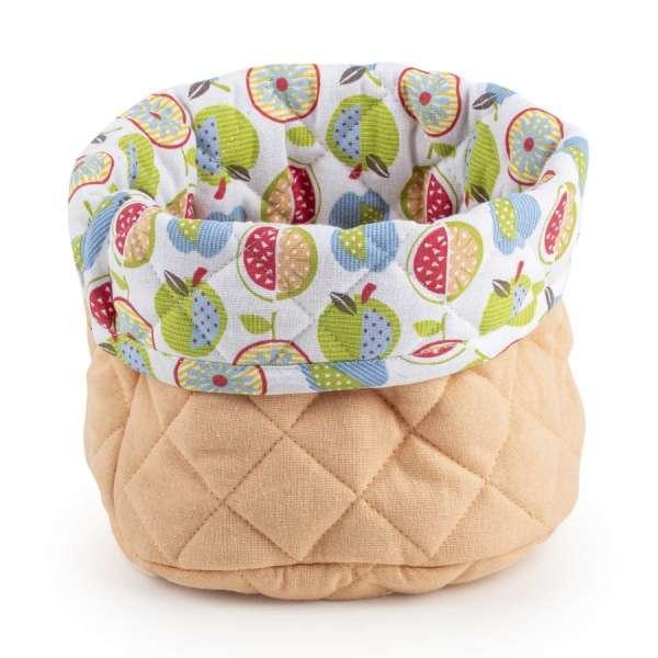 Košara Svilanit Fruit - Okrogla košara je narejena iz bombažne tkanine in polnila iz kakovostnih mikrovl