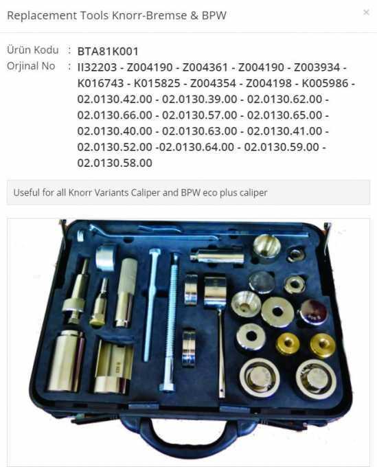 Malette d'outils pour la réparation des étriers (Tools case)
