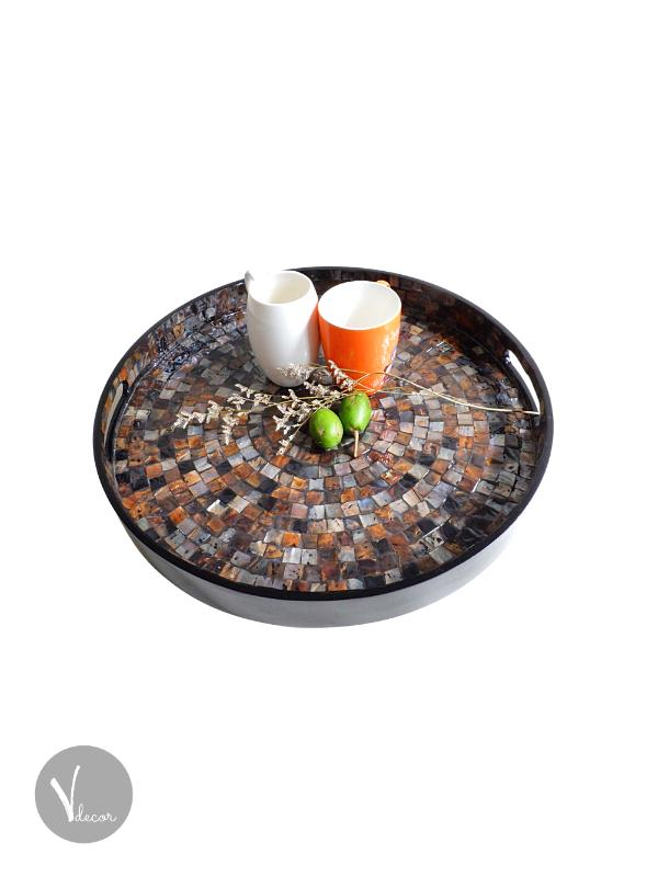 Round Black Mother of Pearl Lacquer Tray - Shop