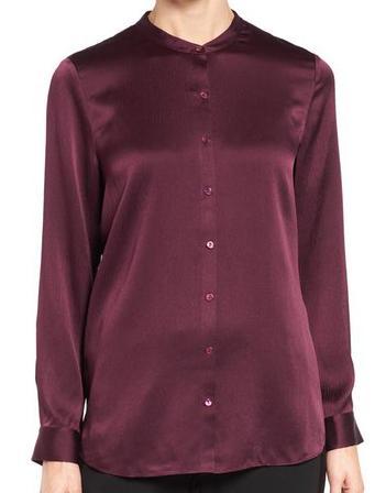 Silk Satin Women Shirt Blouse with Mandarin Collar