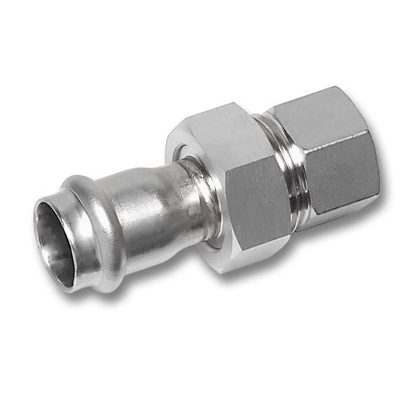 NiroSan® Verschraubung - NiroSan® Verschraubung, flachdichtend mit EPDM-Dichtung, Mutter, Pressanschluss