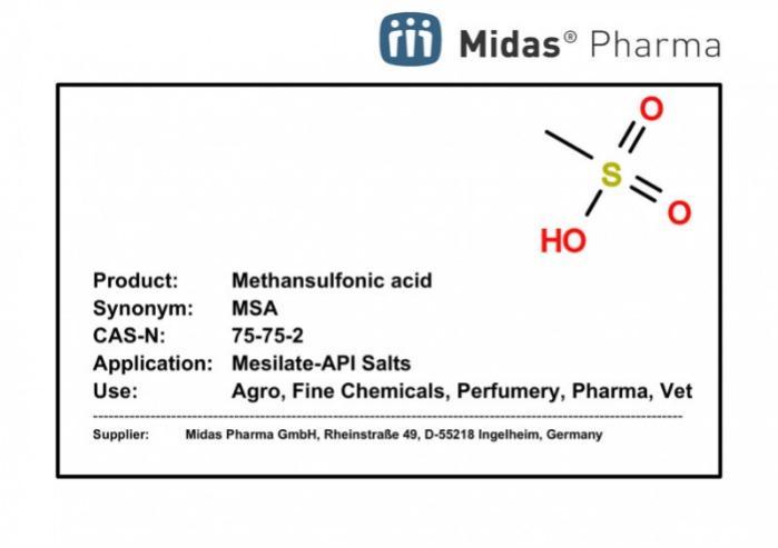 Ácido metansulfónico - MSA; 75-75-2; API en forma de sal de mesilato; farma, vet, agro, electro