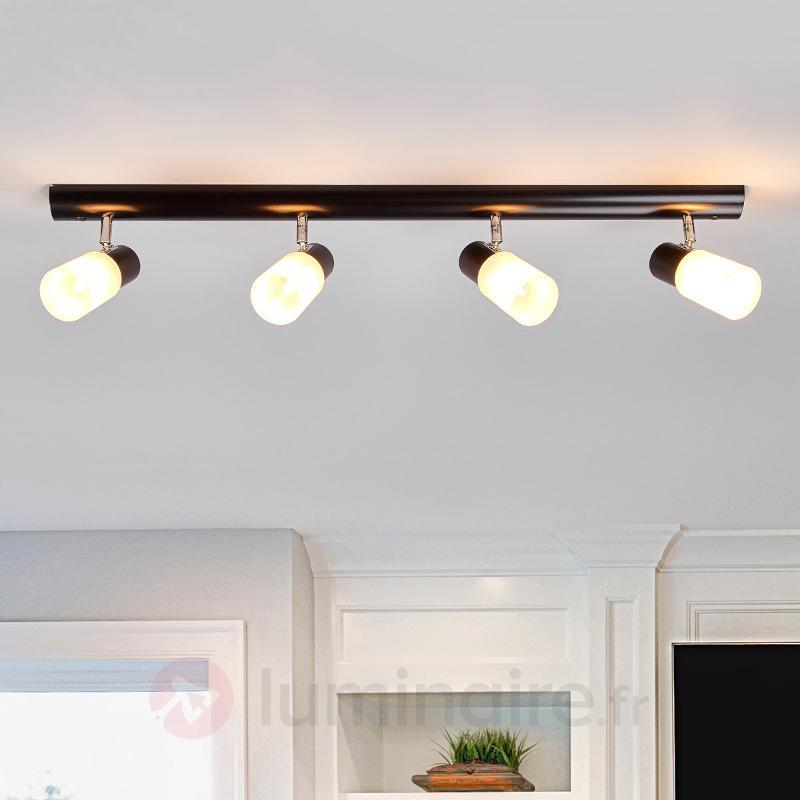 Plafonnier quatre lampes Kira avec du bois - Plafonniers en bois